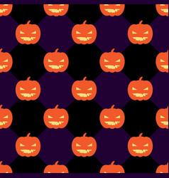 seamless halloween pattern with pumpkins on rhomb vector image
