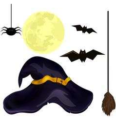 set for halloween spider broom witch hat bat vector image