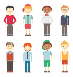 Set of boys in casual smart and sports clothes vector image