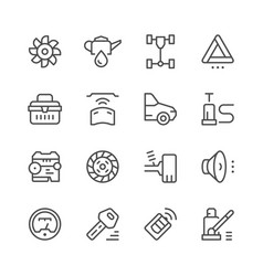 Set of car related line icons vector
