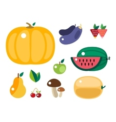 Set of colorful cartoon fruit and vegetables icons vector image vector image