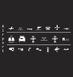 Set of icons in flat design for airport on black vector