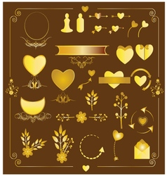 Set of wedding gold elements vector image
