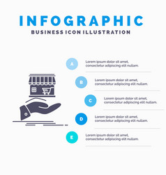 Shop donate shopping online hand infographics vector