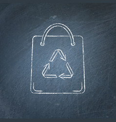 shopping bag icon chalkboard sketch vector image