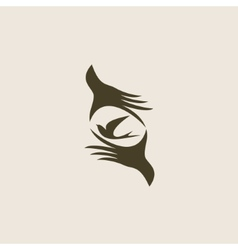 Silhouette swallow in human hands vector image