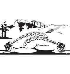 snow generators working on ski slope vector image