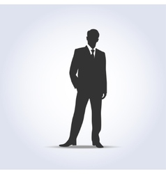 Standing businessman silhouette gray color vector image