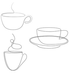 Teacup continuous line one line tea coffee cup vector