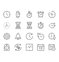 Time clock thin line icon minimal vector