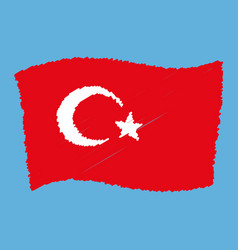 turkey national flag - al bayrak - flying grunge vector image