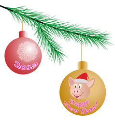 two christmas balls hanging on a tree branch vector image