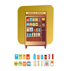 Vending machine with food and drink vector