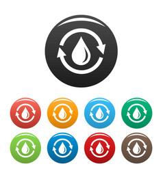 water saving icons set color vector image