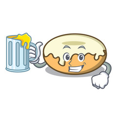 With juice donut with sugar mascot cartoon vector