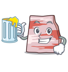 With juice pork lard mascot cartoon vector