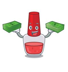 With money bag nail polish mascot cartoon vector