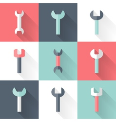 Wrench flat icons set vector