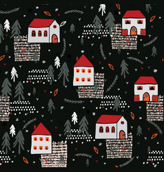 xmas village church house pattern black red color vector image