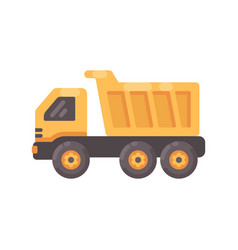 yellow tipper truck flat icon vector image