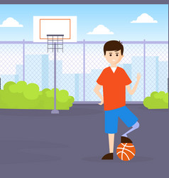 Young man with prosthesic leg playing basketball vector