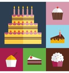 Birthday cupcakes icons set vector image
