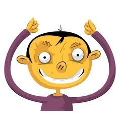 Boy with hands up vector image vector image