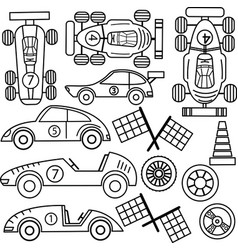 collection of vintage classic sport cars vector image vector image