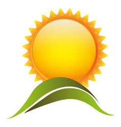 color sun with mountain icon vector image