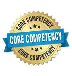 Core competency round isolated gold badge vector
