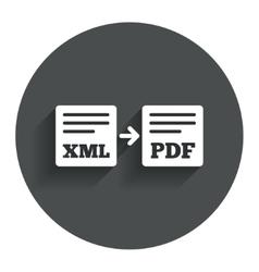 Export XML to PDF icon File document symbol vector image vector image