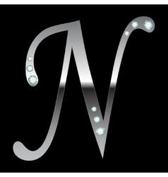 silver metallic letter N vector image