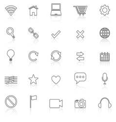 Web line icons with reflect on white vector image