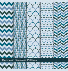 zigzag wavy geometric seamless patterns vector image