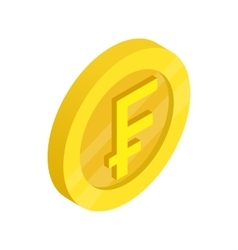 Gold coin with franc sign icon isometric 3d style vector image