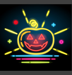 halloween pumpkin icon neon electric vector image