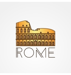 one line minimalist icon of Coliseum Rome vector image