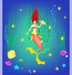 underwater world little mermaid fishes plants vector image vector image