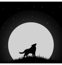 Wolf howling at the moon vector image
