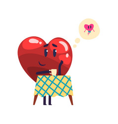 cute red heart character dreaming about the vector image