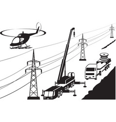 electrical transmission line maintenance and repai vector image vector image
