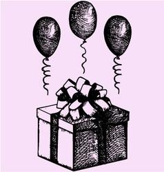 Gift box balloons vector