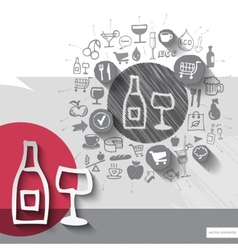 Hand drawn wine icons with food icons background vector image