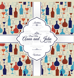 invitation card with bar colorful background vector image vector image