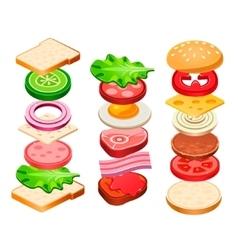 Sandwich and Hamburger Ingredients Set vector image