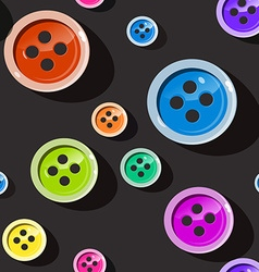 Seamless Buttons Colorful Button Pattern on Dark vector image vector image