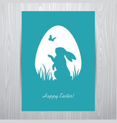 standing rabbit silhouette in an egg shaped frame vector image vector image