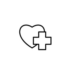thin line heart with medical sign icon on white vector image vector image