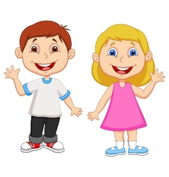 Cartoon boy and girl waving hand vector image vector image