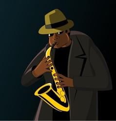 Cartoon jazzman playing on a saxophone vector image vector image